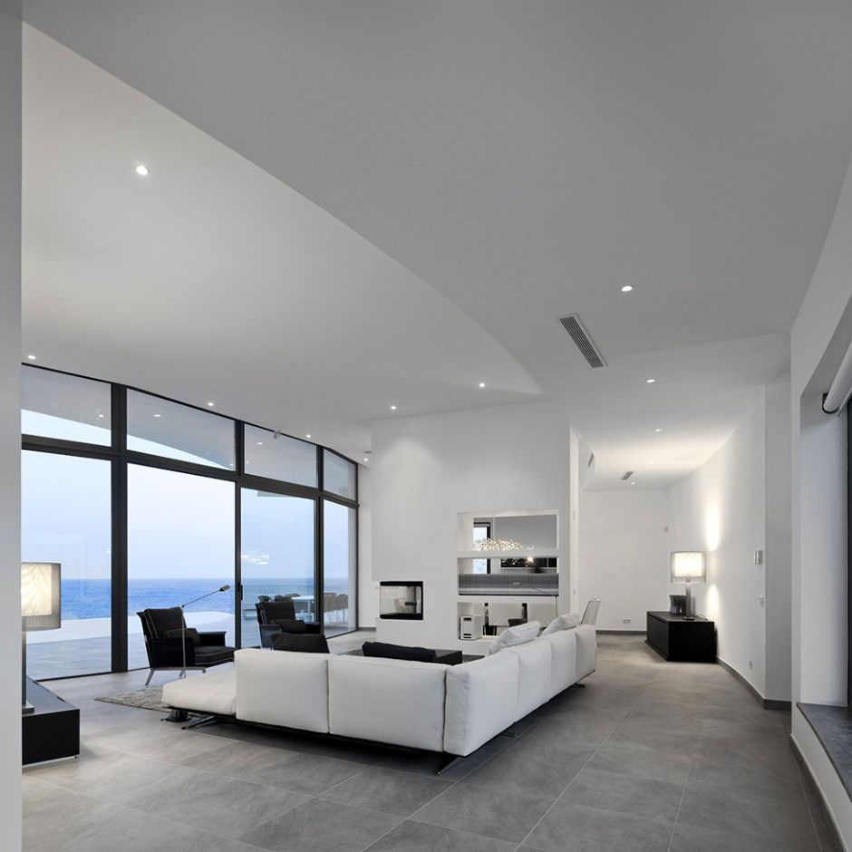 Architecture Comfortable Residence Colunata Living Room With Grey Tile Floor Intricate Coastal