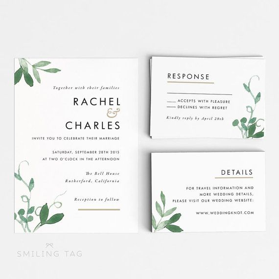 Modern Botanical Wedding Invitation Suite, Wedding Invitation
