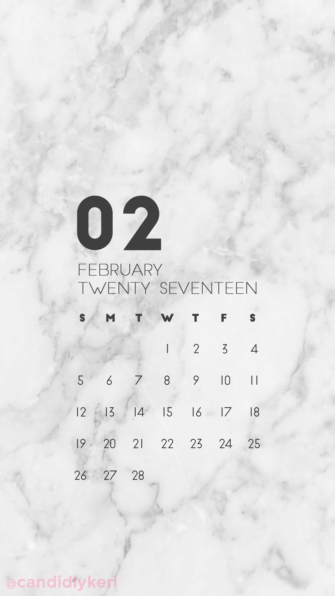 Marble organized clean February calendar 2017 wallpaper