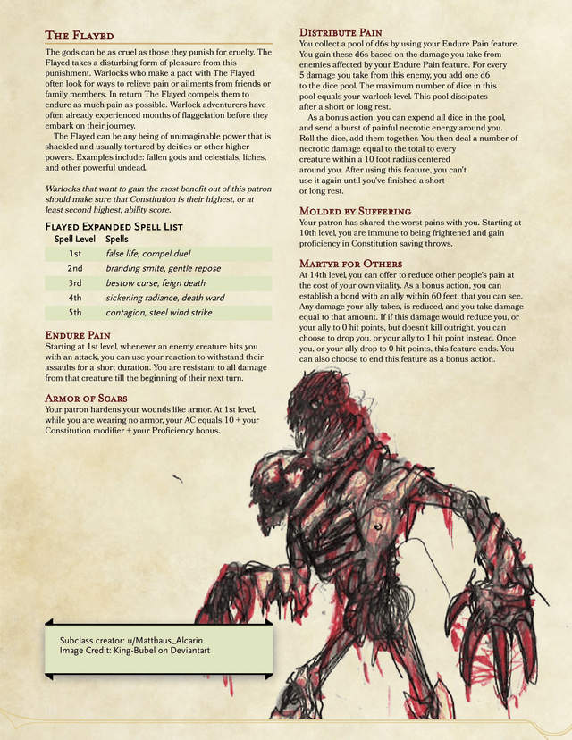 The Flayed - A Warlock Patron of Pain (Feedback necessary