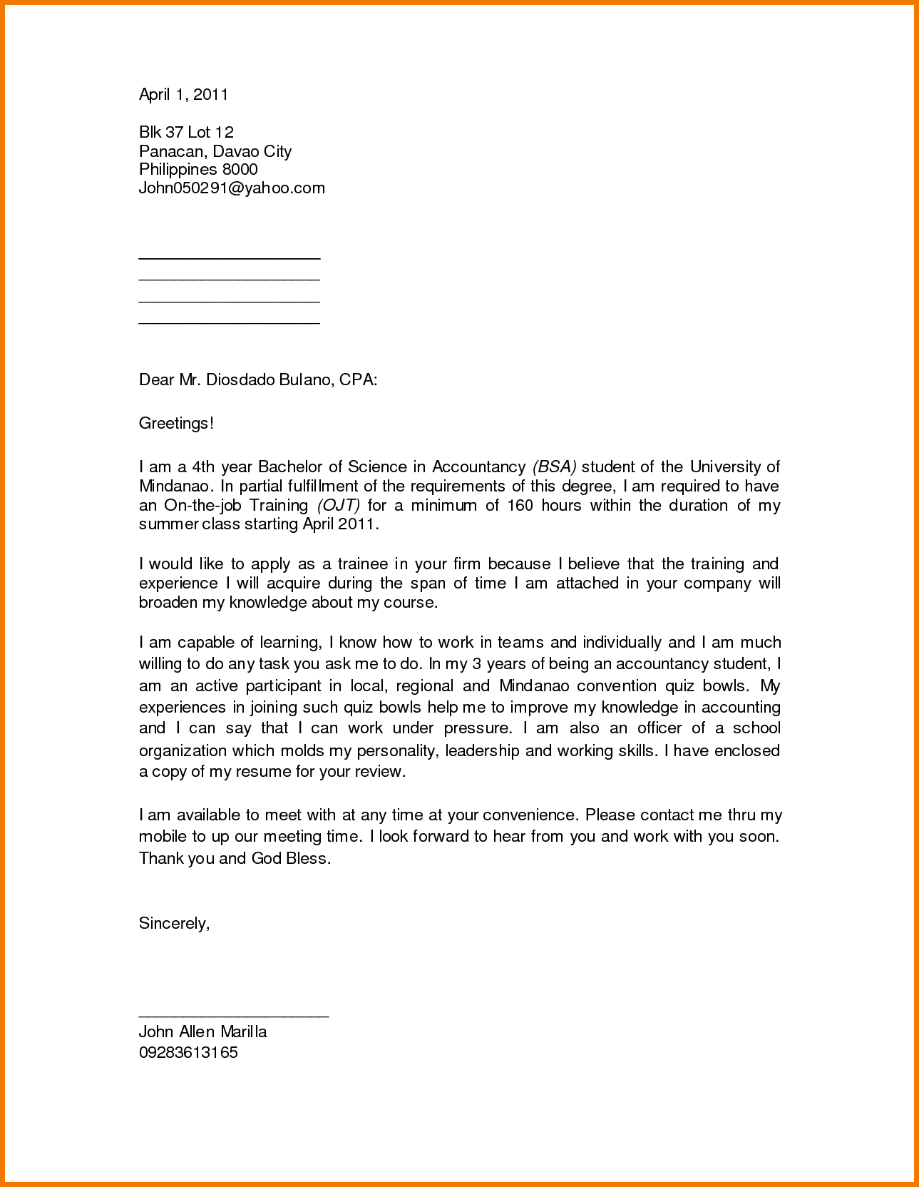 Ojt Computer Science Students Pictures Resume Letter Stonevoices