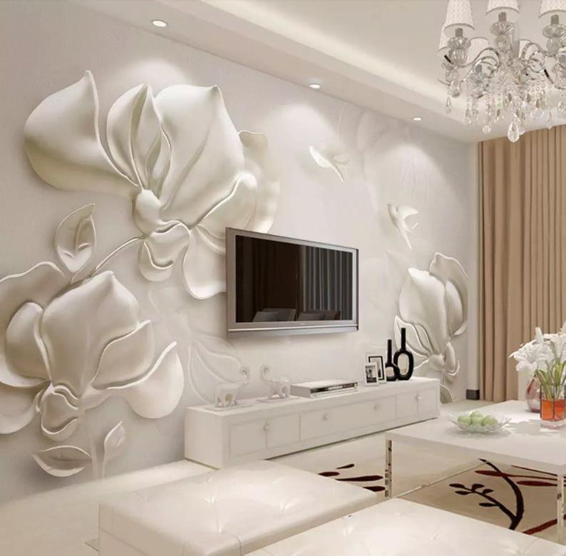 3D Flowers Marble E445 Removable Wallpaper Self Adhesive Wallpaper Extra Large Peel /& Stick Wallpaper Wallpaper Mural AJ WALLPAPERS