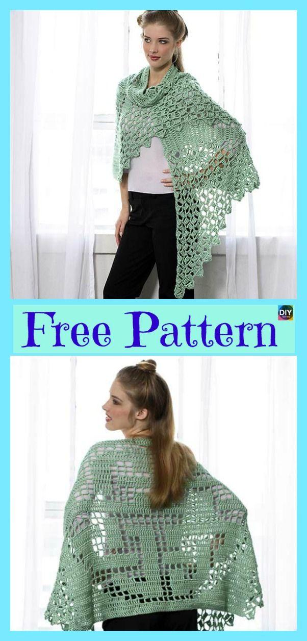 Elegant Crochet Summer Shawl - Free Patterns | Tuch stricken, Häkeln ...