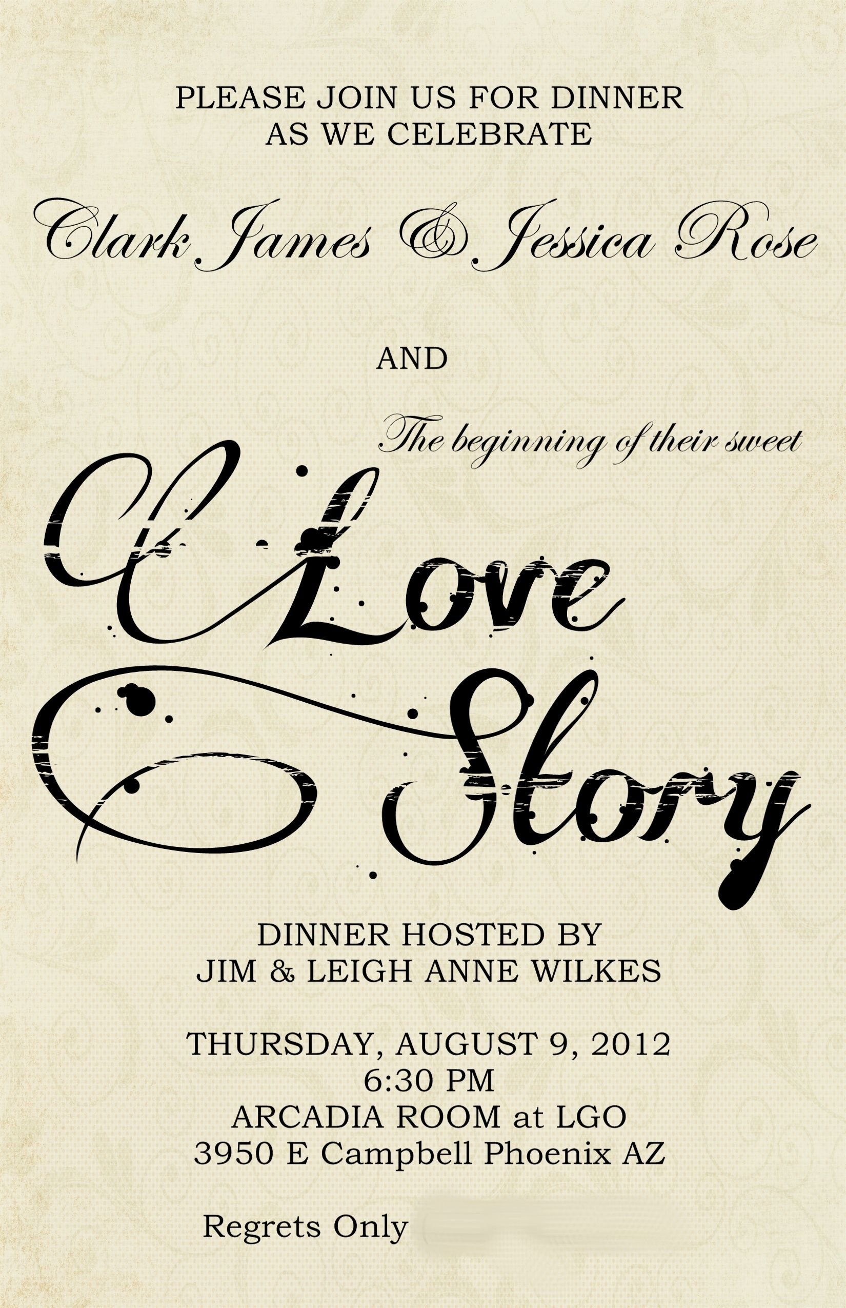 Wedding Rehearsal Dinner Literary Love Theme