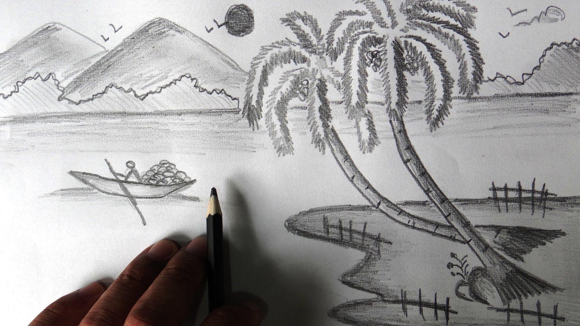 Beautiful nature pencil sketch 1920x1080