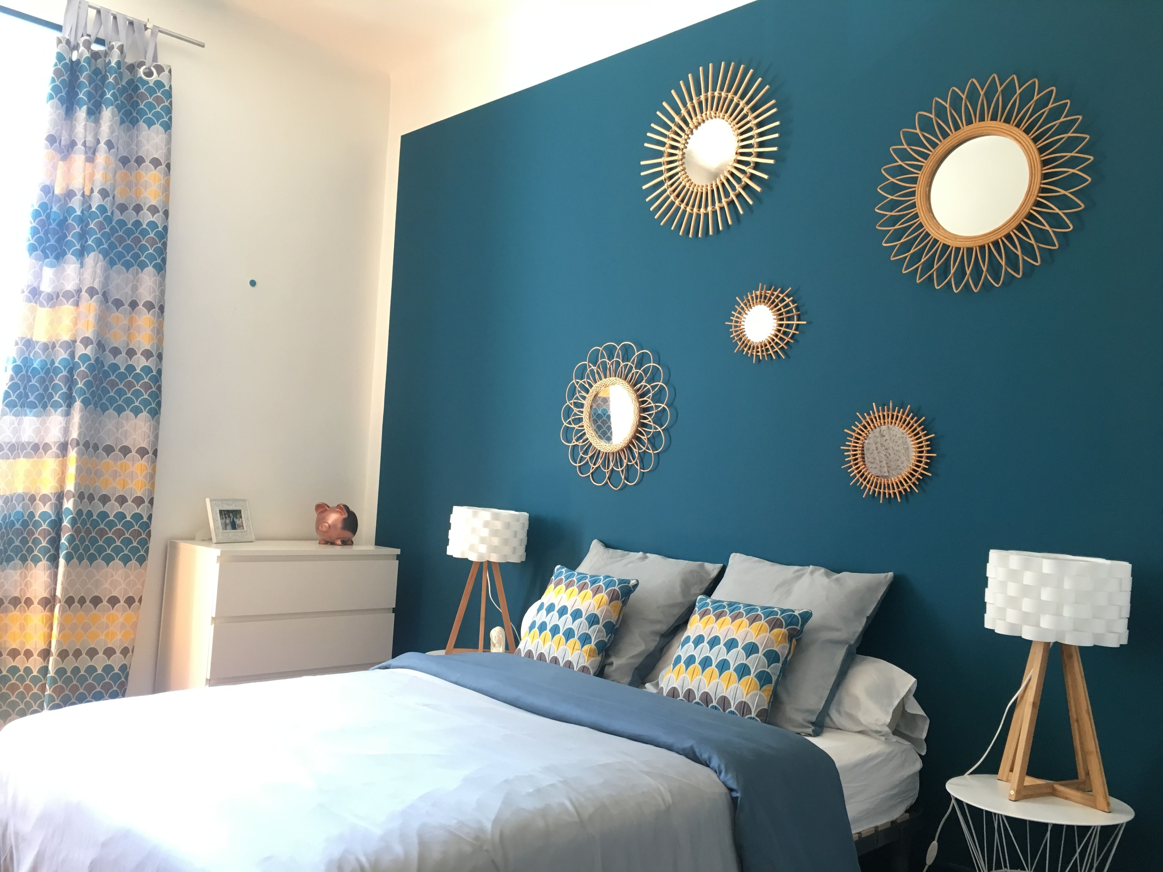 Épinglé par Marta sur Décoration chambre, bleu pétrole, miroirs en