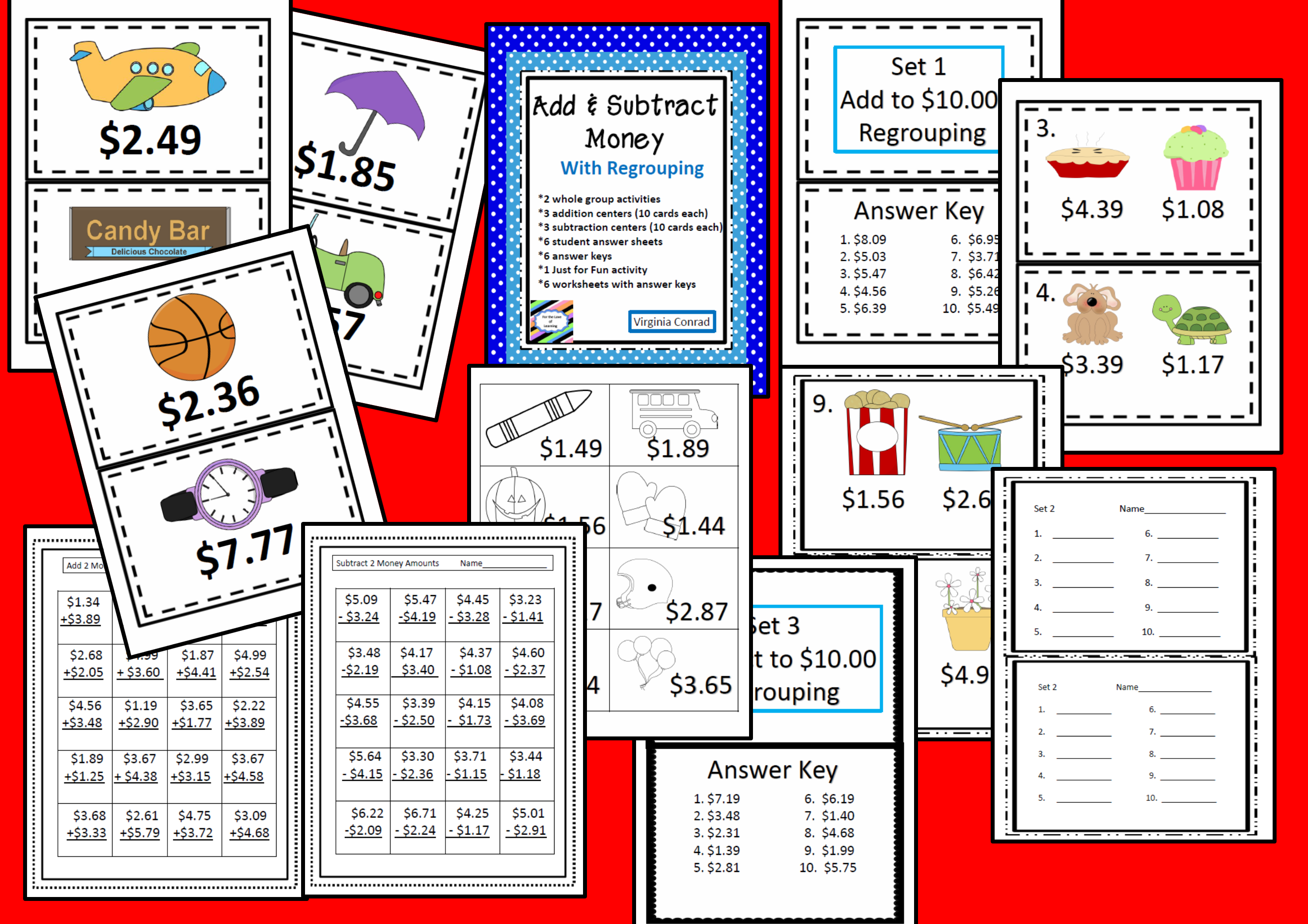 Add And Subtract Money With Regrouping Centers And