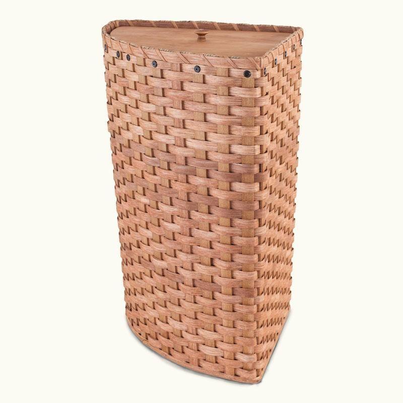 Large Amish Wicker Corner Laundry Hamper Basket With Lid
