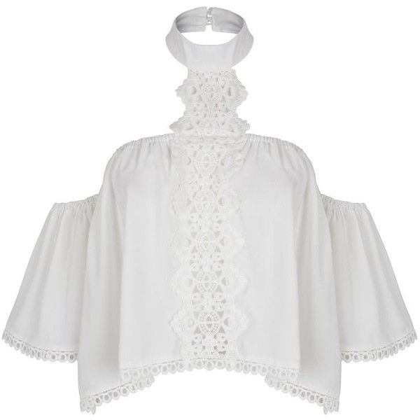 White Halter Off Shoulder Cut Out Crochet Detail Crop Top (€45) ❤ liked on Polyvore featuring tops, halter crop top, cutout tops, white cut out top, cut-out crop tops and white off shoulder top