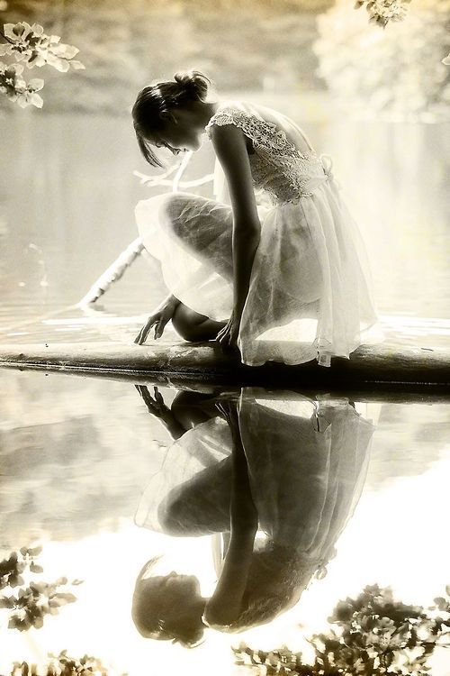 Solitude, female beauty, water, reflection, misty, mist, mysterious, gorgeous, photo