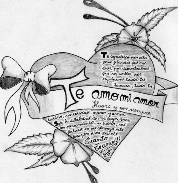 Imagenes A Lapiz De Amor Con Frases 1 Jpg 600 616 Pencil And Paper Cute Drawings Art