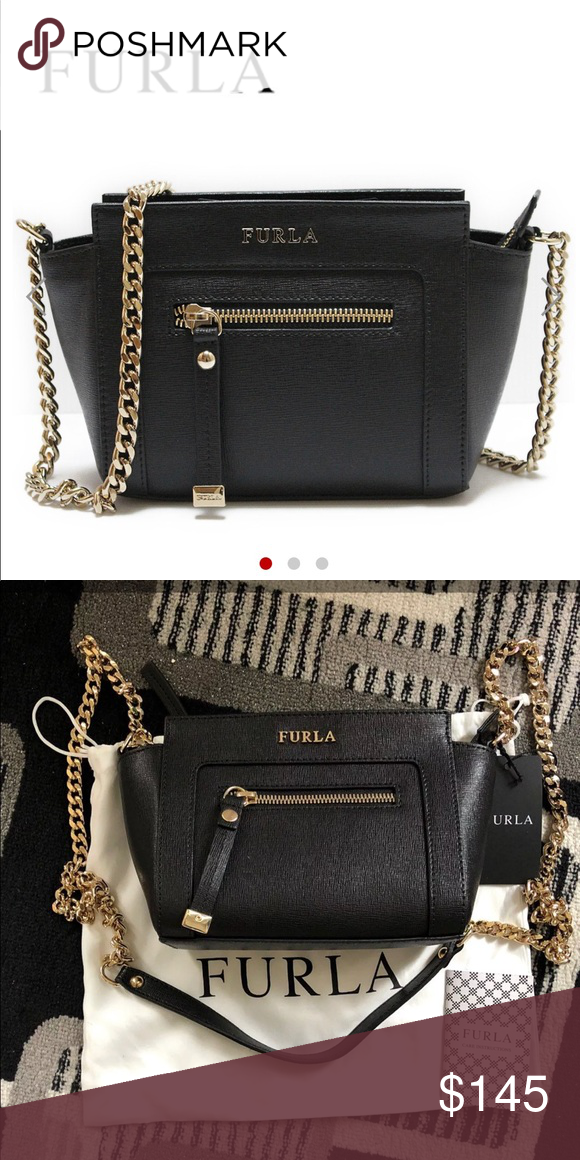 fdcfe29087ad89 FURLA Mini CrossBody Bag 100% Authentic Retail:318 Furla saffiano leather  crossbody bag with golden hardware. Curb chain shoulder strap, 21.8