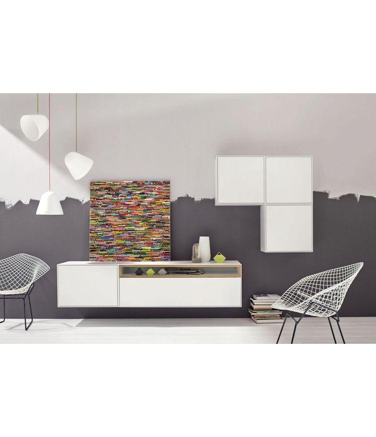WOHNWAND in Eichefarben, Weiß - Eichefarben/Weiß, MODERN, Holz - hülsta möbel wohnzimmer