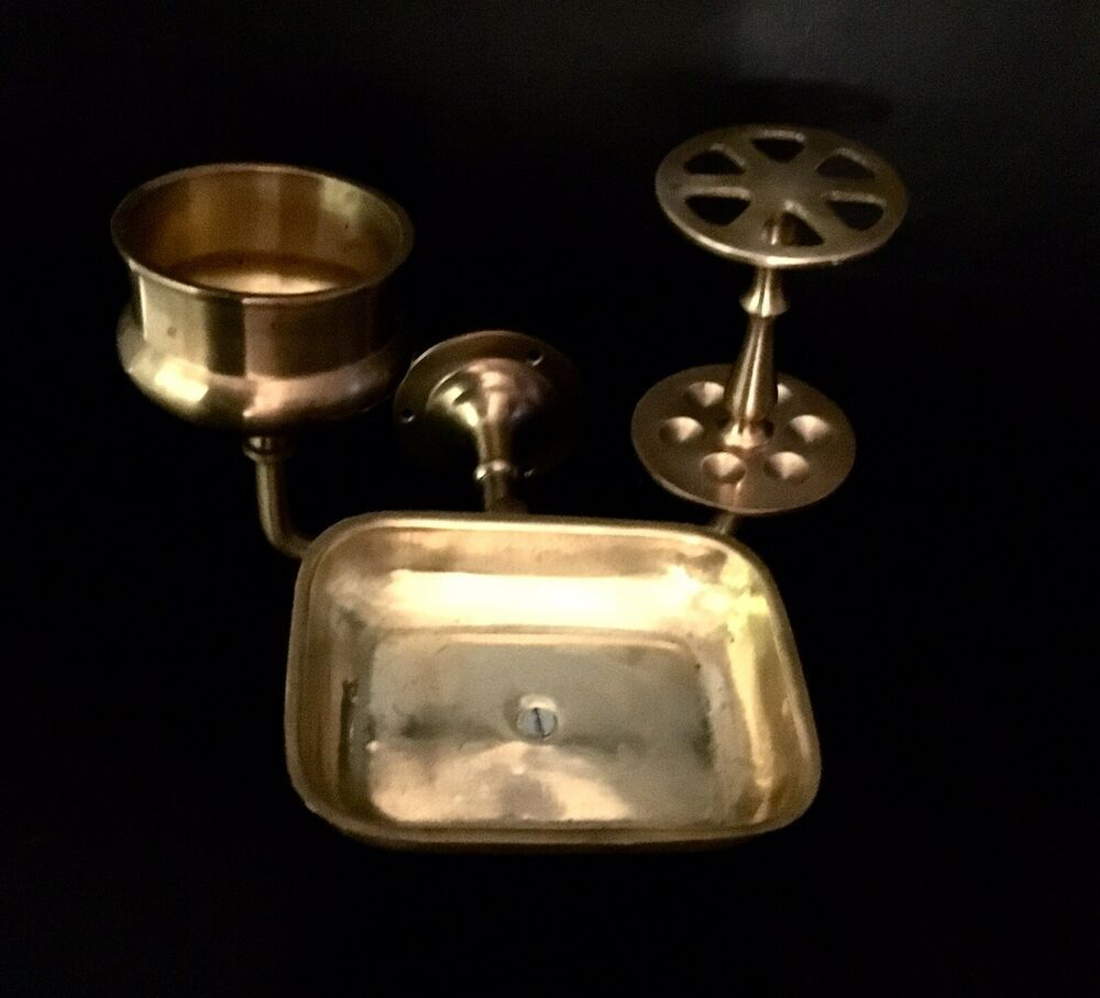 Photo of VINTAGE BRASS TOOTHBRUSH CUP & SOAP HOLDER BATHROOM FIXTURE wall mount for sale online | Ebay