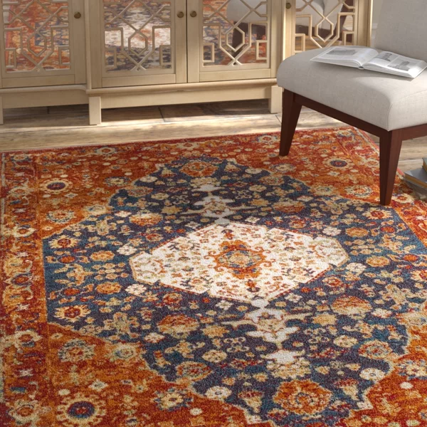 Chani Power Loom Orange Blue Rug Area Rugs Orange Area Rug Red Area Rug