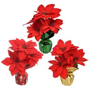 Artificial Poinsettia Bush In Foil Pot 16 In Office Holiday