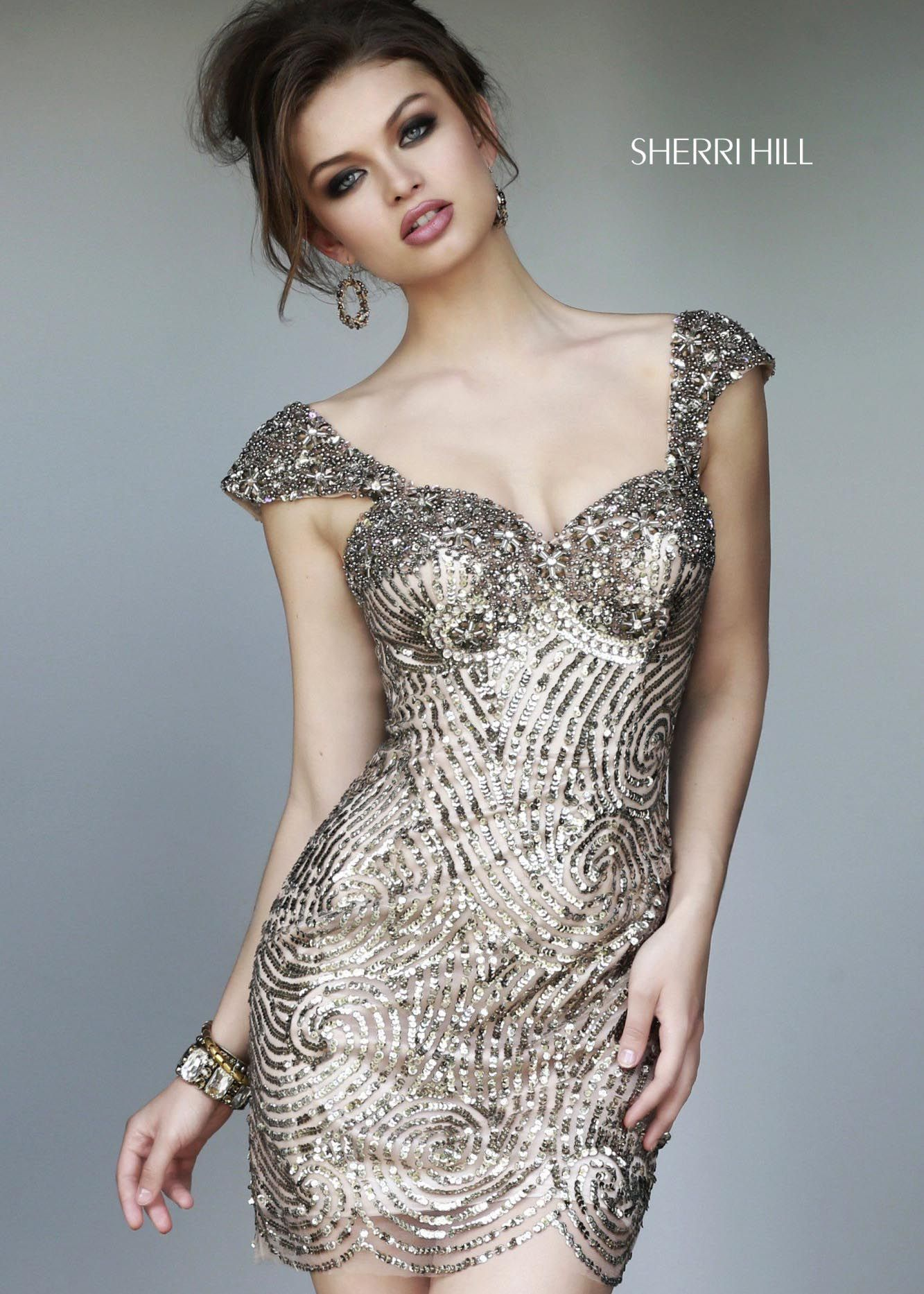 Sherri hill gold fitted sequin homecoming dresses online
