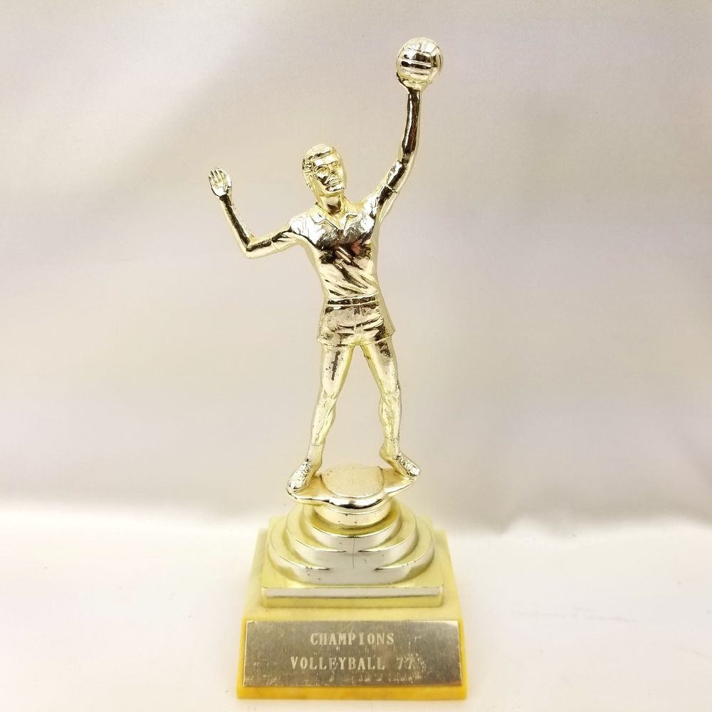 1977 Vintage Men S Volleyball Champion 8 Trophy Sports Award Gold Metal Male Figure Statue Team Player Gift Short Sho Gold Metal Mens Volleyball Sports Awards