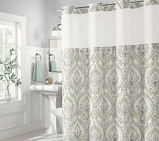 Hookless French Damask Shower Curtain With Built In Liner Coral