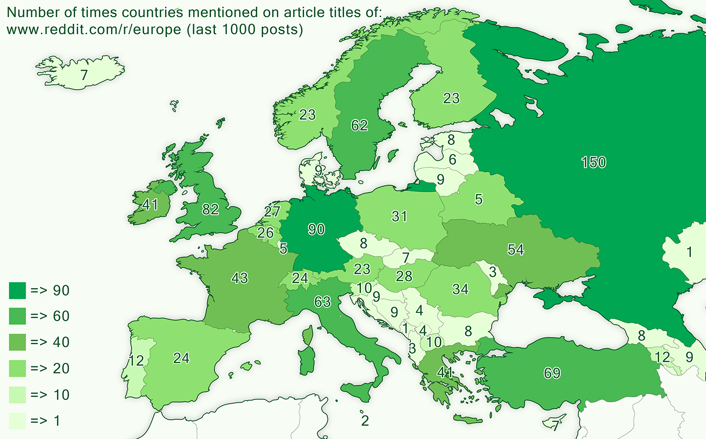 number of times countries mentioned on reurope