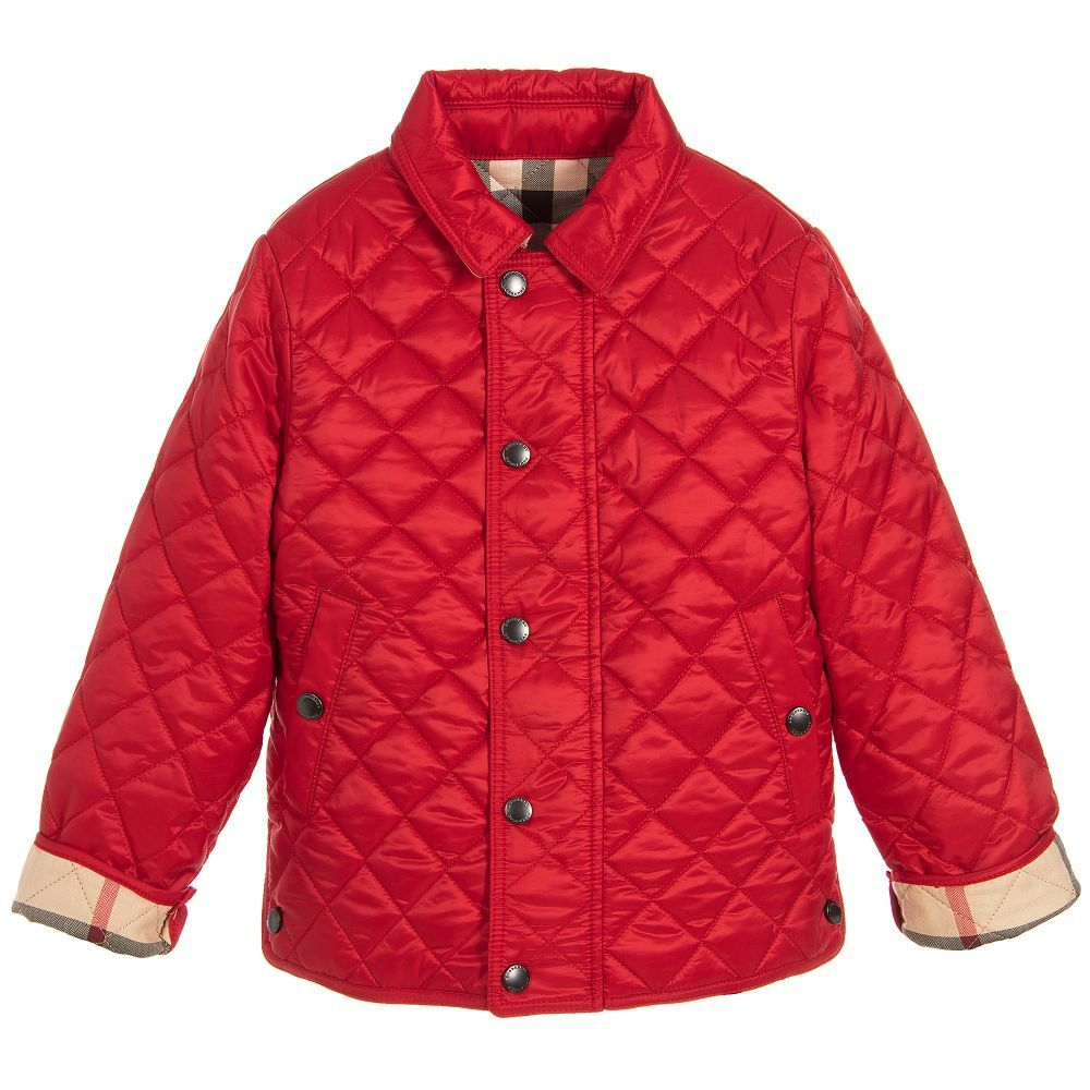 Burberry Boy Red 'Charlie' Jacket Jackets, Quilted