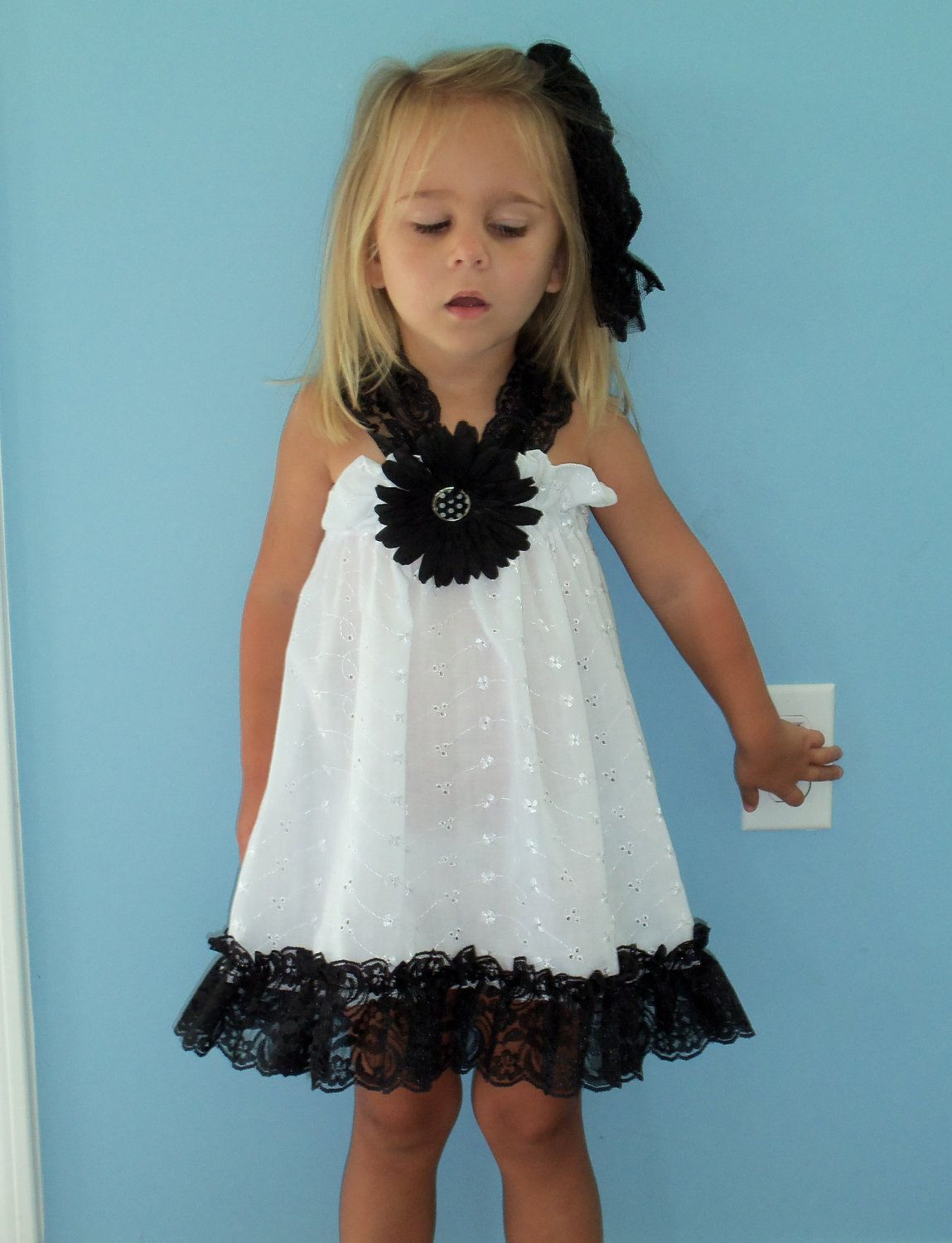 White Eyelet Dress With Black Lace Straps And Ruffle 28 00 Via Etsy Dresses White Eyelet Dress Eyelet Dress [ 1500 x 1149 Pixel ]