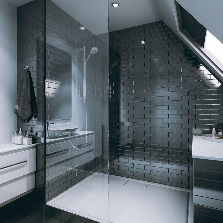 black brick effect shower panels  brick paneling