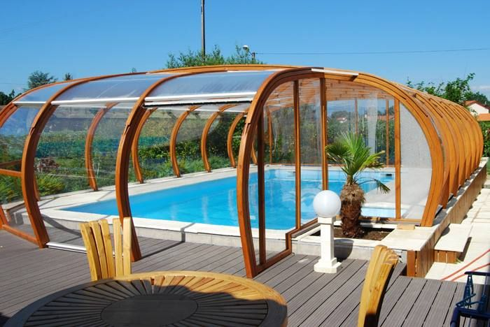 Swimming pool enclosure is a construction supported on our glulam