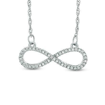 1 10 Ct T W Diamond Sideways Infinity Necklace In