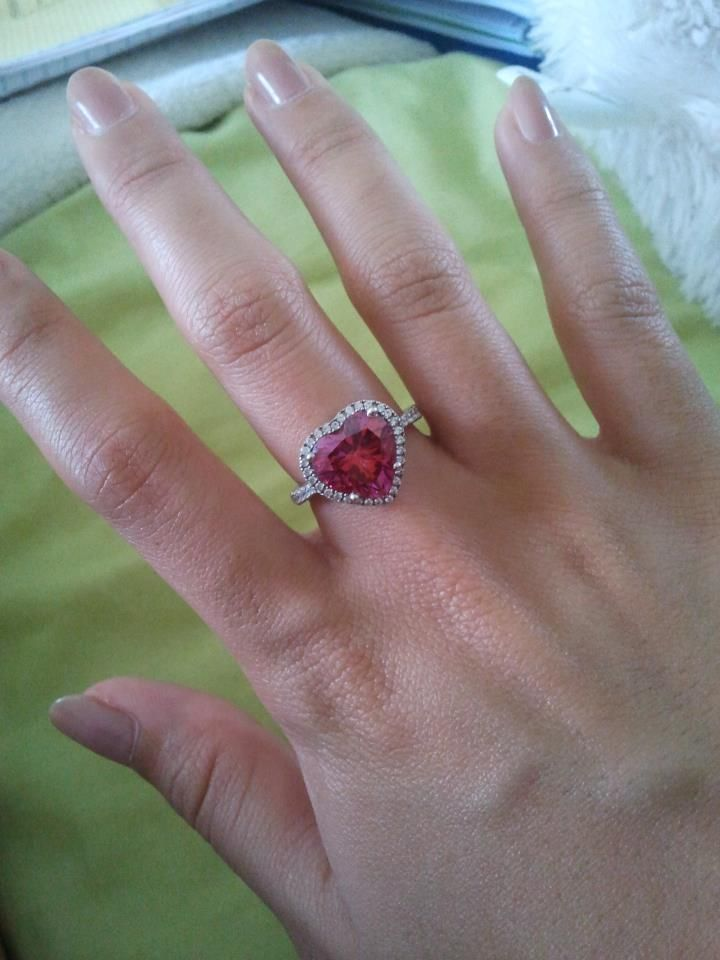 pink heart Swarovski element ring from the bf <3