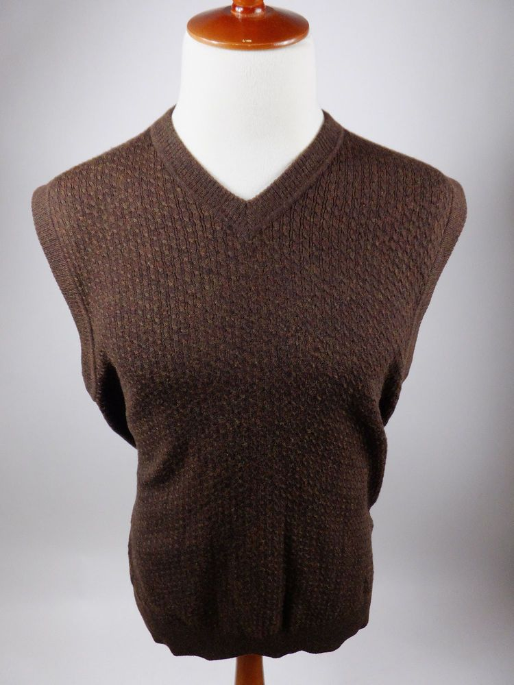 Callaway Golf Merino Wool Brown Pullover V Neck Cable Knit Sweater