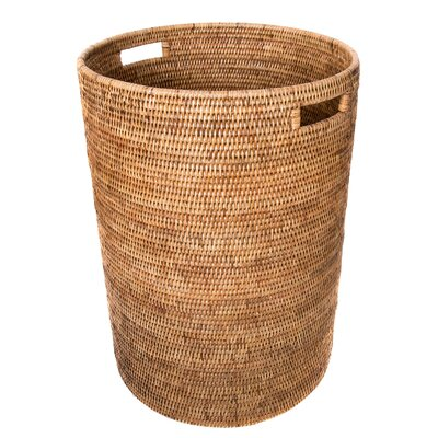 August Grove Round Rattan Laundry Hamper Color Honey Brown