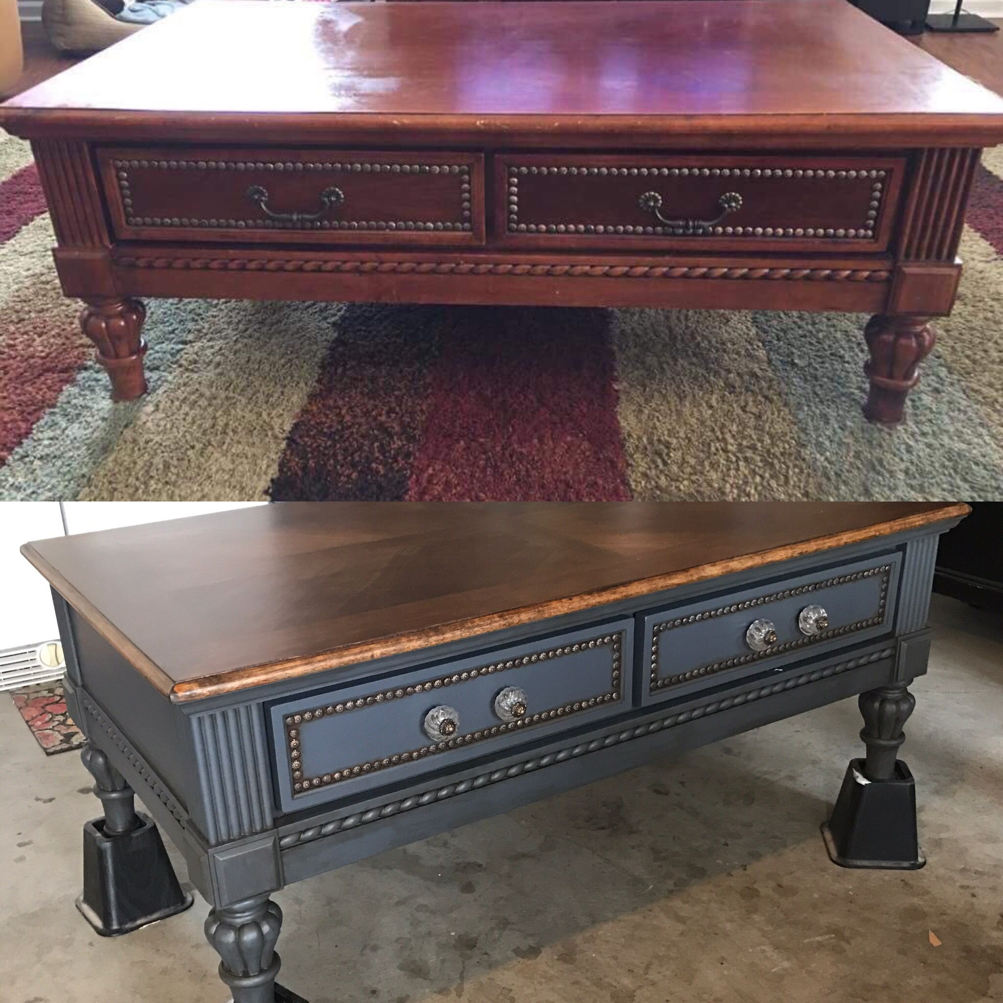 refinish coffee table before after