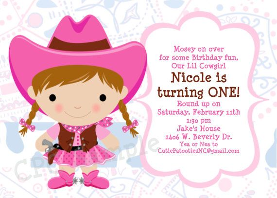 Cowgirl Birthday Invitation Pink Cowgirl | BIRTHDAY PARTY IDEAS ...