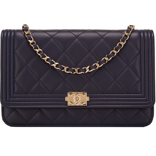 e2482c55e48c Pre-Owned Chanel Navy Quilted Lambskin Boy Wallet On Chain (WOC) (90 920  UAH) ❤ liked on Polyvore featuring bags, handbags, navy, navy purse, chanel  ...