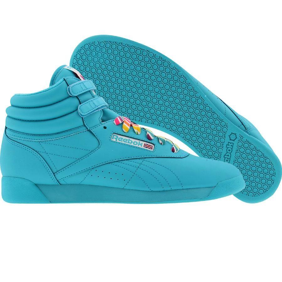 650cb6d98b0 Reebok Womens Freestyle High Reign-Bow (island blue   white   30th) J93474  -  64.99