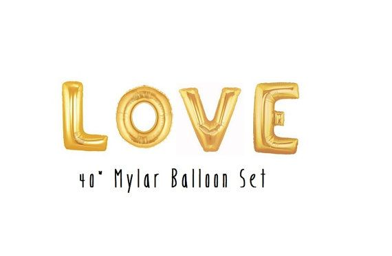 Love Balloons Gold Letter Balloons Engagement Photo Prop