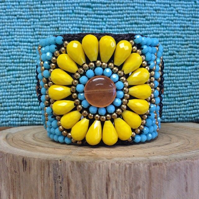 handwoven gemstone cuff