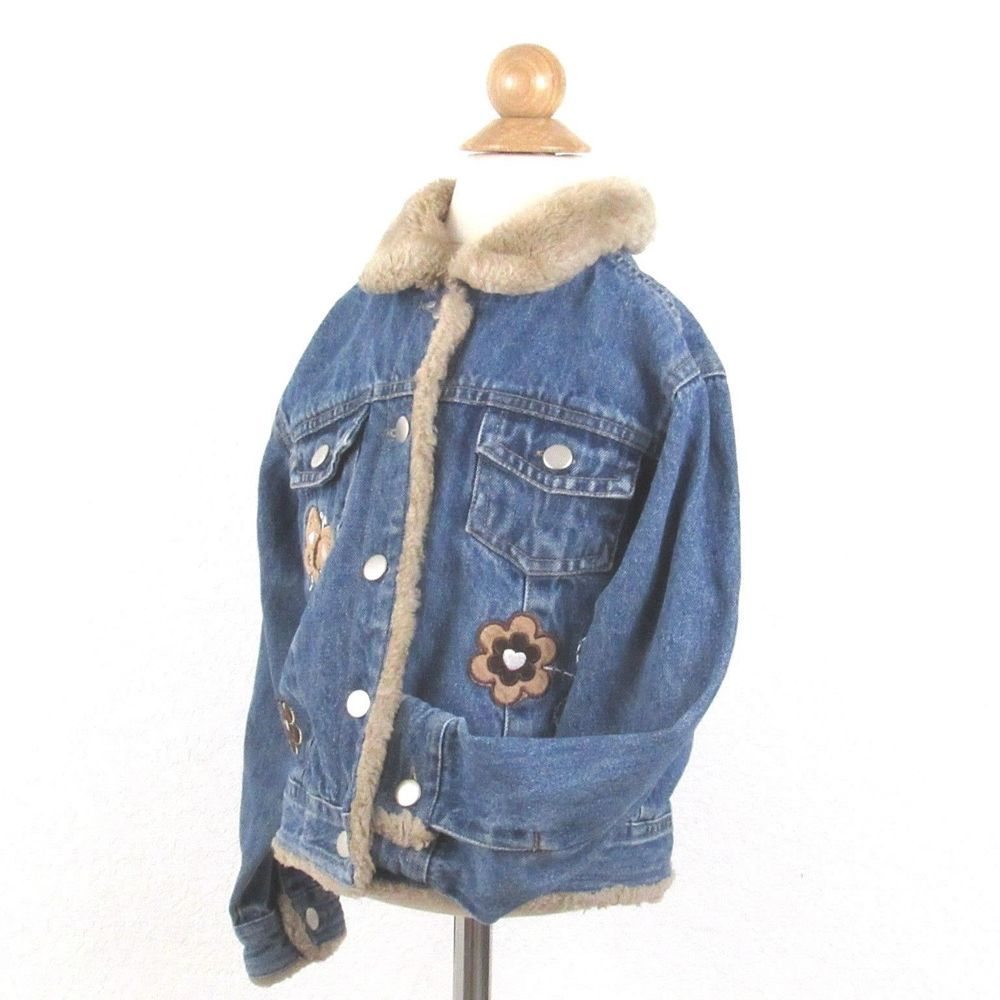 Denim jean jacket girls size button front coat blue brown sherpa
