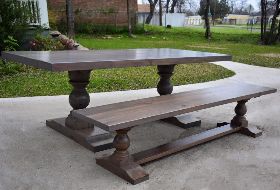 Rustic Gray Melissa Table and Bench by Harp Design Co. with HGTV Fixer Upper, Waco, Texas