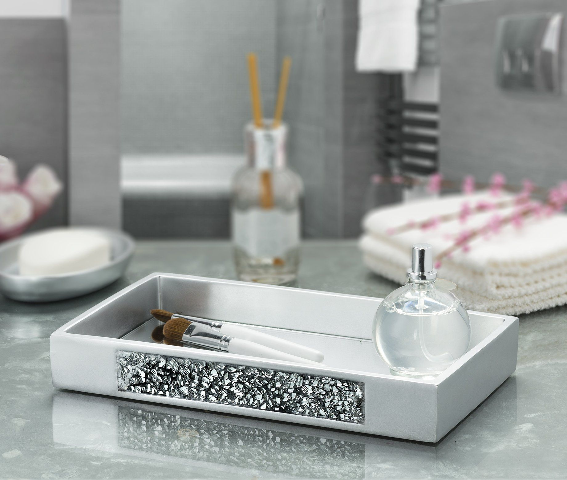 Dwellza Silver Mosaic Vanity Mirror Tray For Dresser 11 1 X 6 2 X