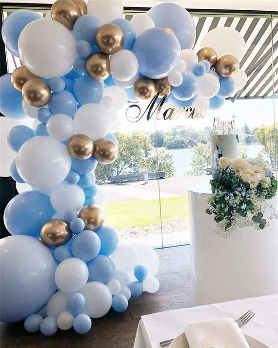 Balloon Garland Kit Blue White Gold Chrome Balloon Arch Wedding Bridal Shower Babyshower Birthday Pa  -  #Arch #babyshower #Balloon #birthday #Blue #Bridal #Chrome #Decoracionesdeglobosparaniños #Garland #Gold #Kit #Shower #Wedding #White