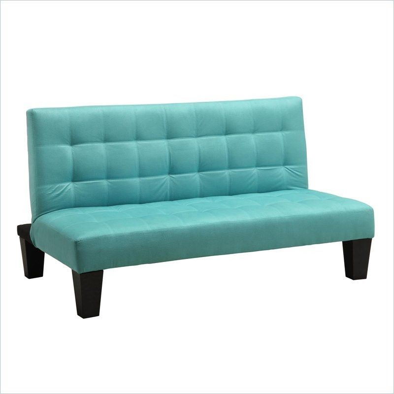 Recliner Sofa Kids Teens Futon Sofa Bed Recliner in Teal Blue Green Microfiber
