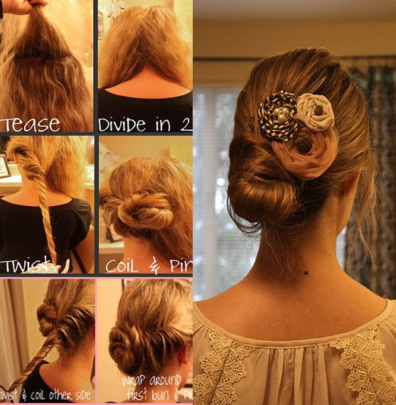 With school, work & other life events, I hardly have time to do nice hairstyles. When I see easy ones like these I get happy :) The best part is, it takes about 5 mins. Things needed:  Clear Elastic, Bobby Pins & Some Good Hairspray. 1) Tease the crown of your head to get some volume (I personally don't tease my hair often but it will look nice regardless) 2) Divide your hair into 2 sections 3) Twist the left side all the way to the tip & coil it up into a bun in the middle of your head…