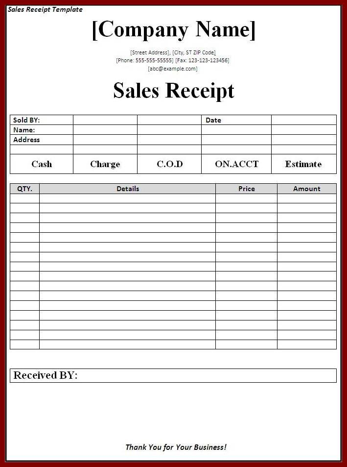 sales receipt template download page word templates