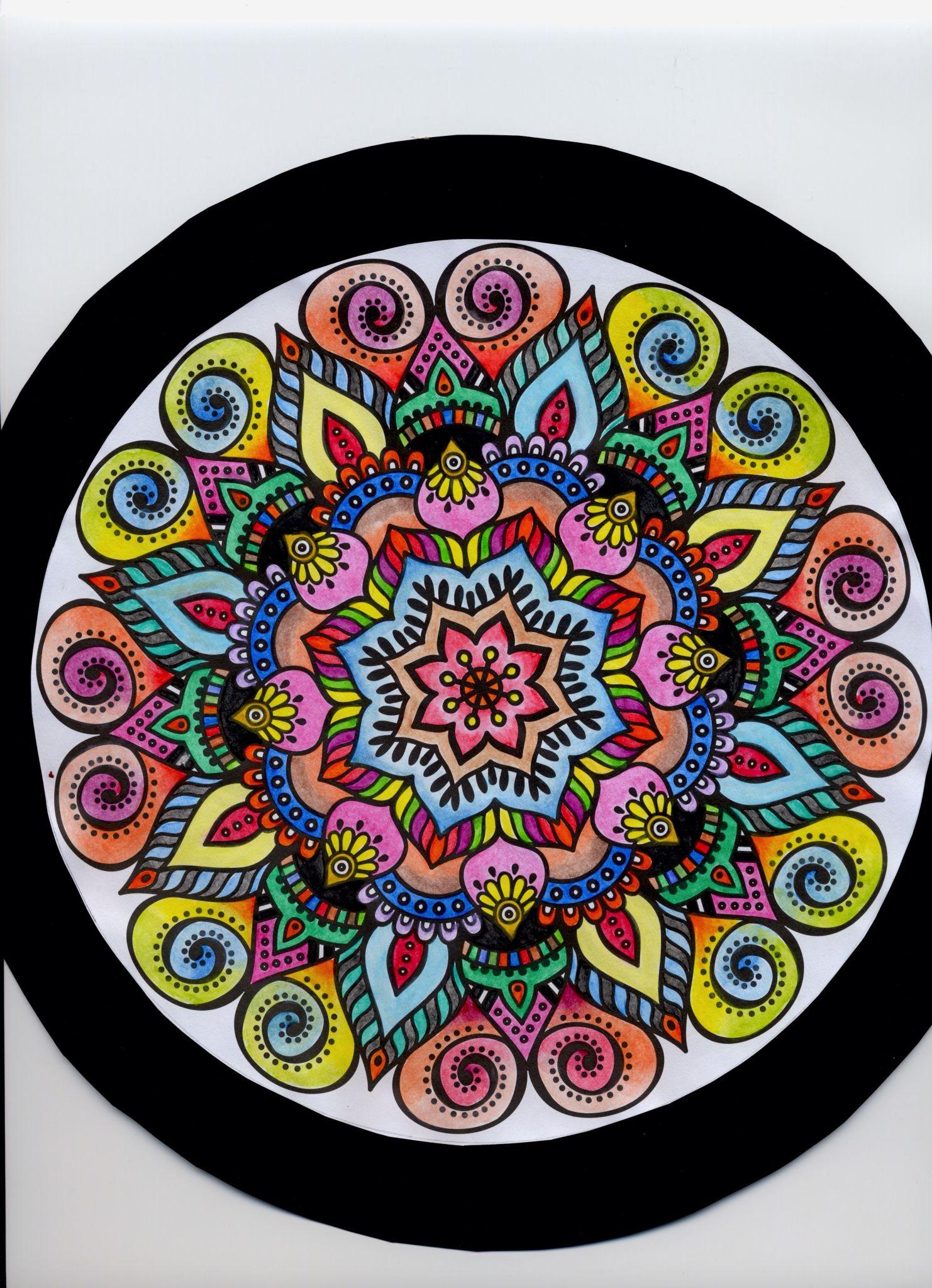 Mandala In Aquarelles From The Art Therapy Colouring Book From Aldi Art Therapy Coloring Book Journal Inspiration Diy Art