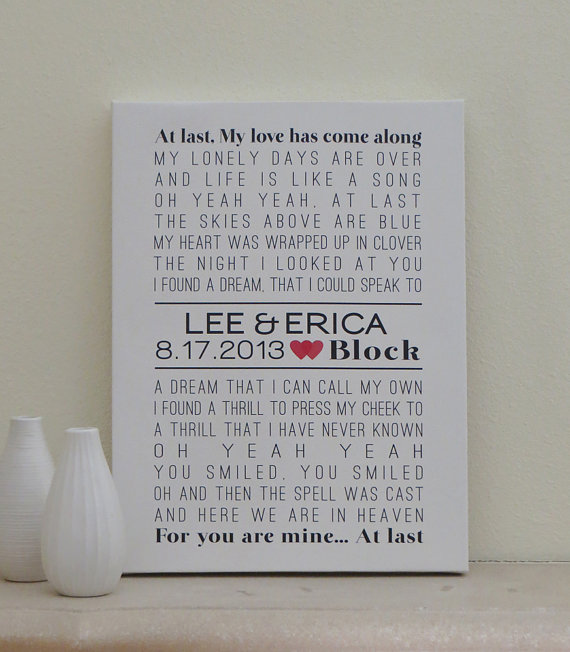 Wedding Canvas Art 12x16 Custom Song Lyric First Dance Anniversary Gift In Black And Red Colors