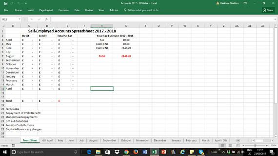 self employed 2017 2018 simple accounts spreadsheet business