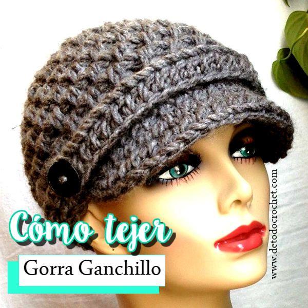 Tienda online salida para la venta precio oficial Cómo tejer gorra con visera y flor paso a paso en crochet ...