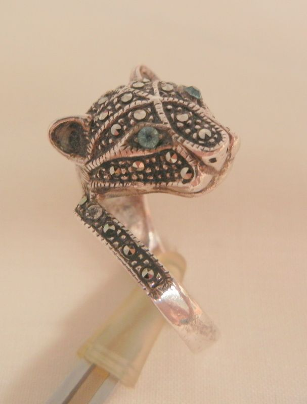 Todays beautiful arrivals Outstanding sterling marcasite blue eye Tiger Ring 6 1/2